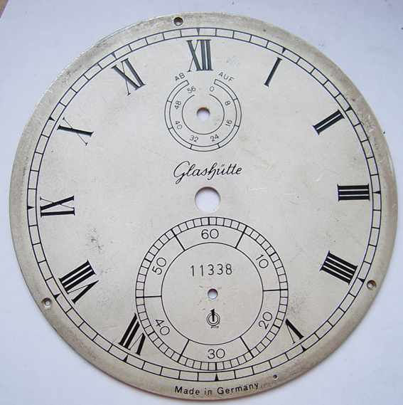 Marine chronometer dial GLASHUTTE # 11338. Germany