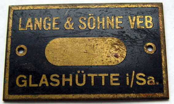 the table for a wooden box.  Lange & Sohne VEB